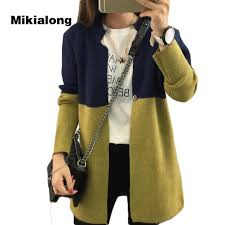 mikialong 2017 plus size long cardigan women patchwork knitted