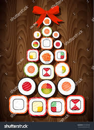 Foods For Christmas Party - sushi roll christmas tree red bow stock vector 535799938