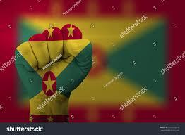 Grenda Flag Man Hand Fist Grenada Flag Painted Stock Photo 510020284