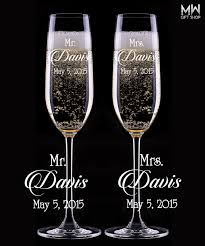 personalized glasses wedding mr and mrs collection personalized chagne flute set wedding