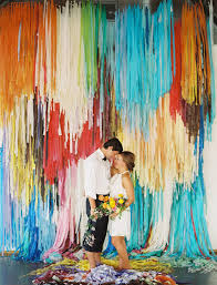 streamer backdrop color pop wedding ideas ruffled