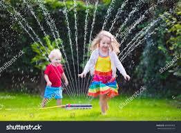 royalty free child playing with garden sprinkler u2026 390429403