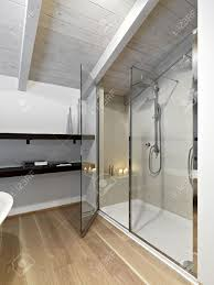 shower cubicle in a modern bathroom on attic with wood ceiling
