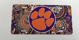 clemson car tag clemson paisley license plate clemson tigers