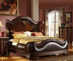 Folding Cing Bed Black Leather Bed King Bed Sleigh Bed Folding