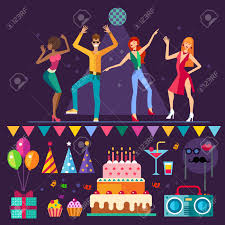night club people dancing music party holiday cake balloons