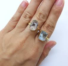 amazon com agate geode ring petite stone ring stackable agate