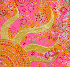 painting with golden sun and colorfull ornaments painting was