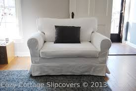 slipcover for chair cozy cottage slipcovers brushed canvas chair and a half slipcover
