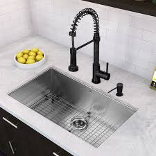 black faucet with stainless steel sink black sink faucet vigo 32 inch undermount single bowl 16 gauge