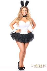costumes plus size white black flirty tuxedo bunny corset plus size costume