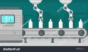 robotic arms working on conveyor belt stock vector 689621311