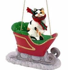 cat sleigh ornaments cat ornaments cat