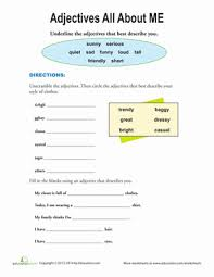 adjectives that describe me worksheet education com