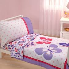 butterfly toddler bedding set with comfoter on white glaze wooden