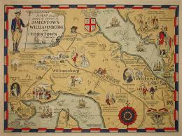map of virginia map virginia jamestown williamsburg and yorktown pictorial
