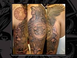 amazing aztec men with eagle hat tattoo on half sleeve u2013 truetattoos