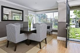 dark wainscoting dining room contemporary with black and white
