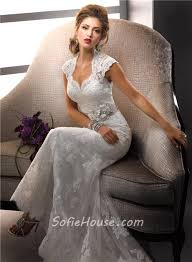 sheath cap sleeves vintage lace wedding dresses with open