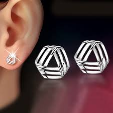 simple flat shape ear small silver plated stud