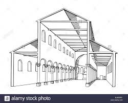 architecture ground plan cross section of a roman basilica stock