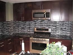 grey marble stone blue glass mosaic tiles backsplash kitchen wall
