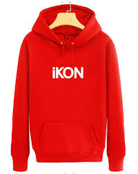 kpop simple ikon printed men women fleece hoodies red black lovers