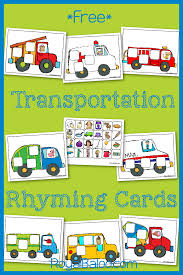 transportation rhyming cards free practice rhyming skills with a