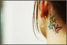 colored butterflies and ear