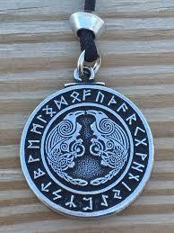 viking raven pendant rune necklace norse warrior odin u0027s ravens