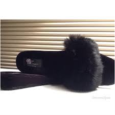 vintage black fur slippers luxury bedroom shoes boudoir