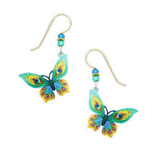 sky peacock feather butterfly pierced earrings fleur
