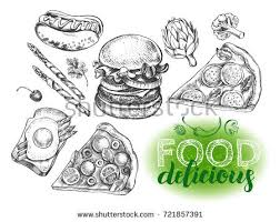 varied food burger pieces pizza stock vector 721857391