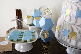kara u0027s party ideas geometric blue gold elephant baby shower