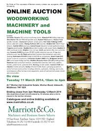 Woodworking Equipment Auction Uk by Sales Archive Marriott U0026 Co