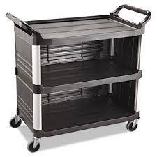 rubbermaid service cart with cabinet rubbermaid 4093 xtra utility cart 300 lb cap 3 shelves black