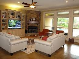 living room furniture arrangement with corner fireplace home