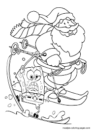 santa claus spongebob snow skiing christmas coloring pages
