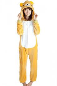 Halloween Jumpsuit Costumes Khaki Cute Ladies Flannel Relax Bear Halloween Jumpsuit Costume