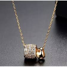 trendy gold chain necklace images Luoteemi new trendy gold color double balls pendant necklace with jpg