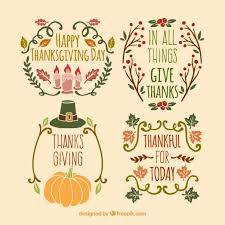 several vintage badges of thanksgiving vector free