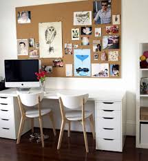 cheerful office decor for home with glass shelving units and white creative decorating inspiration of home office using wall photo frames and drawings cheerful office decor for home with glass