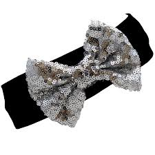 black headbands black silver sequin bow headband