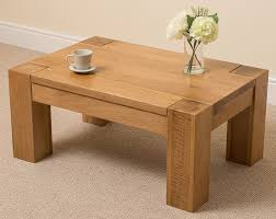 Oak Wood Furniture Kuba Chunky Solid Oak Wood Large Coffee Table Unit Wooden Living