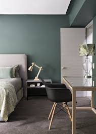 Gray Green Bedroom - sovrumsinspiration i en rogivande grön färgskala apartment