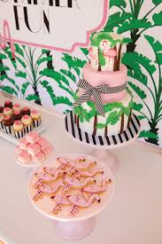flamingo cake banana leaf pink green florida palm