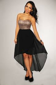 black and gold dress gold sequins black high low strapless padded dress