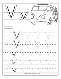 printable letter v tracing worksheets for preschool alphabet