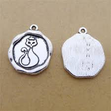engraved charms bulk 30pcs zinc alloy antique silver plated cat engraved