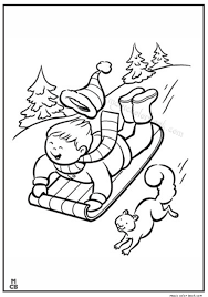 kid sledding snow winter coloring